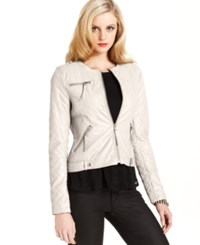 Guess Jacket Quilted Faux Leather Motorcycle
