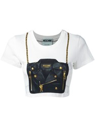 Moschino Handbag Illusion Cropped T Shirt White