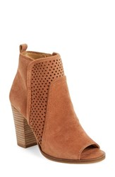 Lucky Brand Women's Lakmeh Peep Toe Bootie Toffee Suede