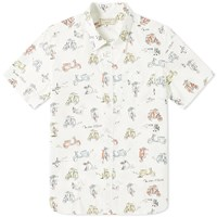Maison Kitsune Short Sleeve All Over Scooter Print Shirt White