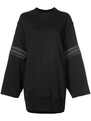 Vera Wang Cording Detail Oversized Sweatshirt Cotton Xs Black