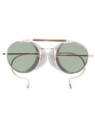 Thom Browne Eyewear Multicoloured Round Frame Gold Plated Sunglasses Metallic