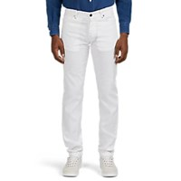 Marco Pescarolo Denim Effect Linen Cotton Five Pocket Trousers White