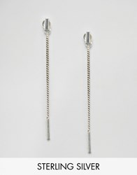 Fashionology Sterling Silver Bar Chain Strand Earrings Silver