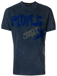 Mr And Mrs Italy Washed Text Print T Shirt Blue