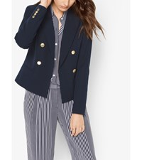Double Breasted Twill Blazer Navy