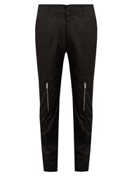 Alexander Mcqueen Zip Cuff Straight Leg Cotton Trousers Black