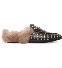 Gucci Princetown Studded Leather Slippers Gold Comb