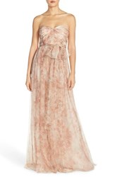 Women's Jenny Yoo 'Annabelle' Print Tulle Convertible Column Gown Blush Multi
