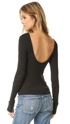 Enza Costa Scoop Back Pullover Charcoal