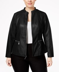 Alfani Plus Size Faux Leather Moto Jacket Only At Macy's Deep Black