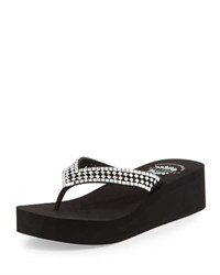 Premium Collection By Yellow Box Floresta Crystal Wedge Thong Sandal Clear Black