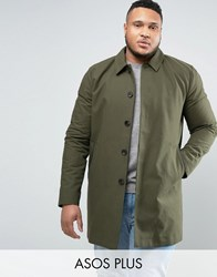 Asos Plus Single Breasted Trench Coat With Shower Resistance In Khaki Khaki Green