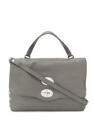 Zanellato Foldover Top Shoulder Bag Grey