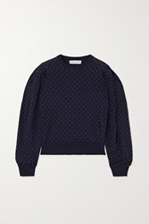 Michael Kors Collection Studded Merino Wool Top Midnight Blue
