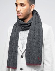 Fred Perry Tipped Cable Scarf In Lambswool Grey