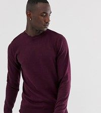 Brave Soul Tall 100 Cotton Crew Neck Knitted Jumper Red