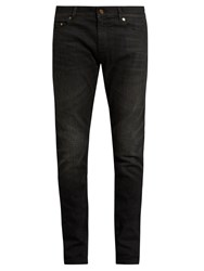 Saint Laurent Skinny Leg Faded Jeans Black
