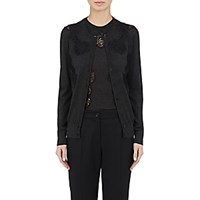 Dolce And Gabbana Women's Lace Inset Cashmere Silk Cardigan Dark Grey