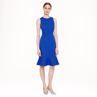 J.Crew Petite Ruffle Hem Dress In Stretch Cotton