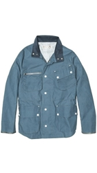 Shipley And Halmos Fin Blue Waxed Cotton Jacket