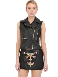 Stefano De Lellis Embellished Leather Biker Vest Black