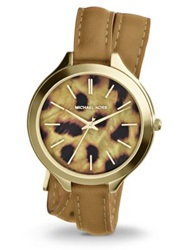 Michael Kors Slim Runway Goldtone Stainless Steel And Leather Cheetah Spot Double Wrap Watch Gold Leopard