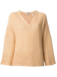 Celine Vintage Chunky Knit V Neck Sweater Nude And Neutrals