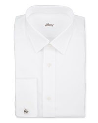 Brioni Twill French Cuff Trim Fit Shirt White