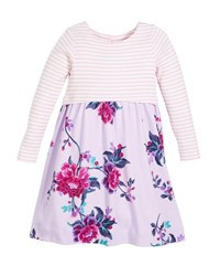 Joules Striped And Floral Long Sleeve Cotton Dress Size 2 6 Purple