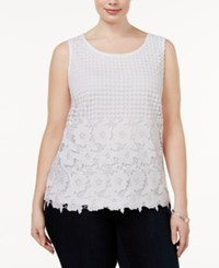 Inc International Concepts Plus Size Lace Shell Only At Macy's Bright White