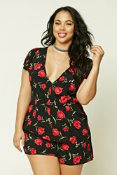 Forever 21 Plus Size Floral Romper Black Red