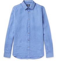 Hugo Boss Garment Washed Linen Shirt Blue
