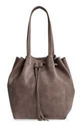 Street Level Faux Leather Drawstring Tote Grey Light Grey