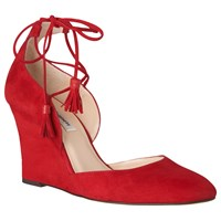 Lk Bennett L.K. Leticia Tie Wedge Heeled Court Shoes Roca Red