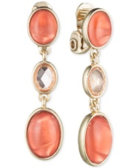 Jones New York Gold Tone Triple Oval Clip On Drop Earrings