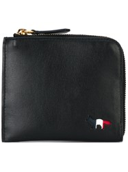 Maison Kitsune Check Lined Zip Purse Women Leather One Size Black
