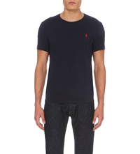 Ralph Lauren Logo Embroidered Cotton Jersey T Shirt Ink