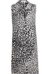 Equipment Mina Leopard Print Washed Silk Mini Dress Black