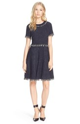 Women's Rebecca Taylor 'Rio' Short Sleeve Fringe Dress
