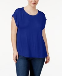Celebrity Pink Trendy Plus Size Cuffed T Shirt Royal Blue