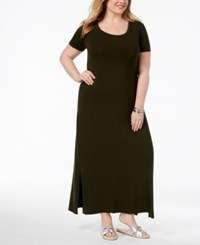 Styleandco. Style Co Plus Size T Shirt Maxi Dress Created For Macy's Deep Black