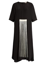 Zeus Dione Melia Fringed Silk Crepe De Chine Dress Black