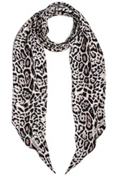 Roberto Cavalli Printed Light Satin Scarf In Animal Print White Animal Print White