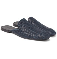 Bottega Veneta Intrecciato Leather Backless Slippers Midnight Blue
