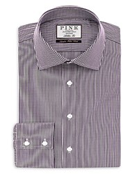 Thomas Pink Holmes Check Athletic Fit Button Cuff Shirt Purple White
