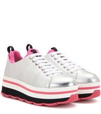 Prada Wave Metallic Leather Platform Sneakers Silver