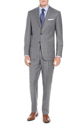 Hart Schaffner Marx New York Classic Fit Plaid Wool Suit Mid Grey