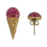 L'orjewelry L'or Ice Cream Cone Earrings Red