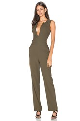 Bobi Black Woven Crepe Sleeveless Side Cut Out Jumpsuit Olive